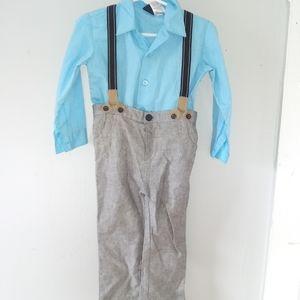 Baby Toddler Boy Suspenders Dress Shirt Vest